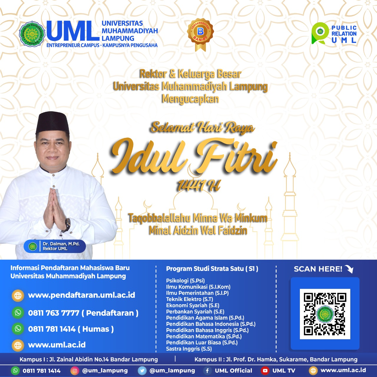 Ucapan Hari Raya Idul Fitri 1441 H Oleh Rektor UML